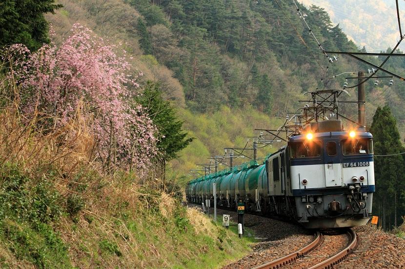 夕刻の5875レ花に見送られ木曽の春