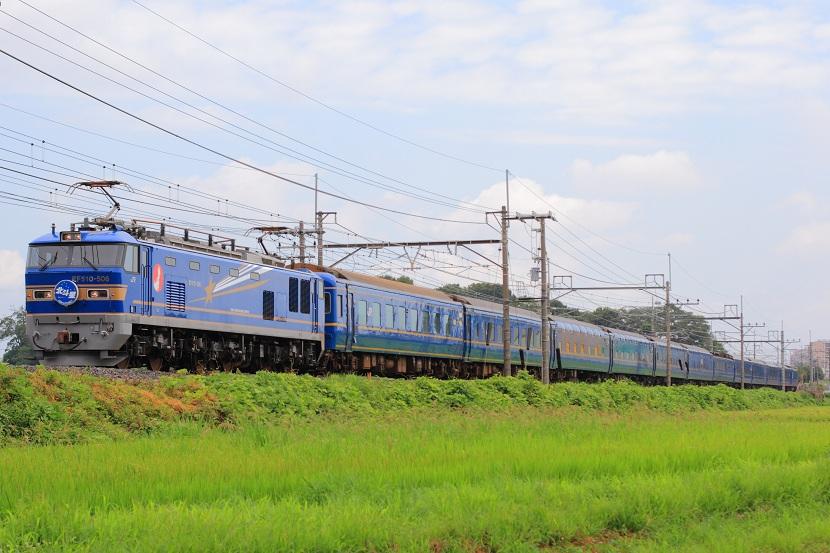 青い機関車と青い客車・・正調ブルートレインここにあり!