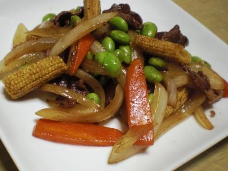 枝豆と牛肉炒め