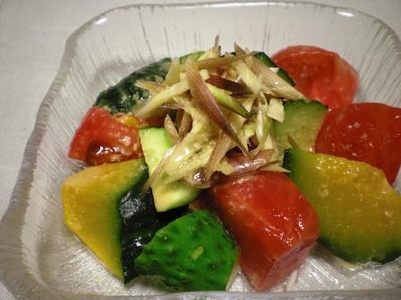 夏野菜天然みょうが わさびドレ1