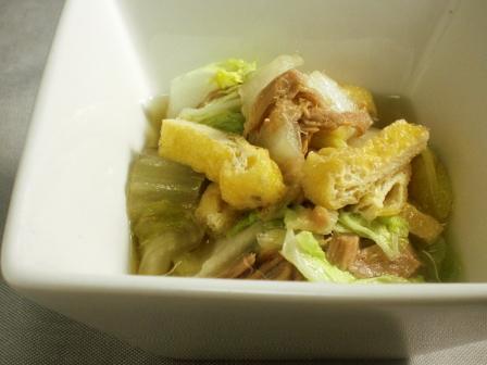 白菜、ツナ、お揚げの炊いたん