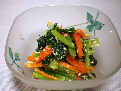 小松菜とにんじんの胡麻和え