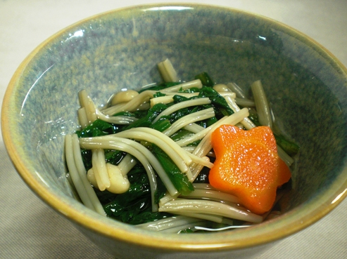 菊菜とえのき茸の煮浸し大