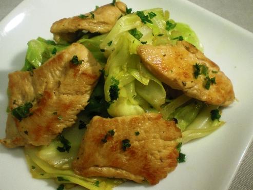 鶏胸肉とキャベツ炒め大