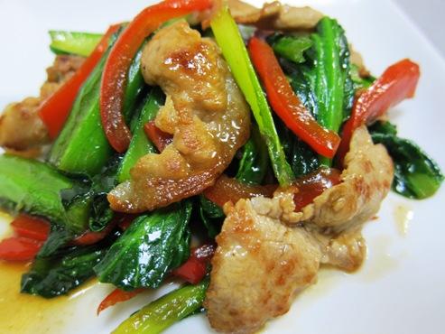 小松菜と豚肉のオイスターソース炒め(B)1