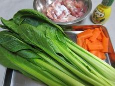 鶏と小松菜レモン醤油炒め 材料