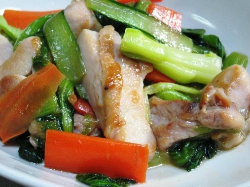 鶏と小松菜レモン醤油炒め大