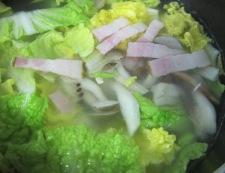 ベーコン白菜スープ調理
