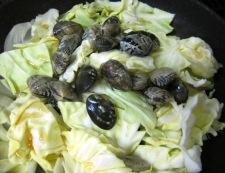 あさりと春野菜の和風蒸し フライパン②