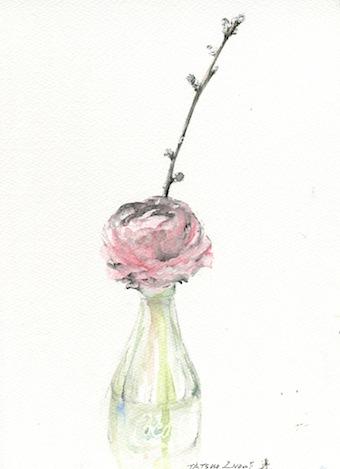 桃と花と瓶