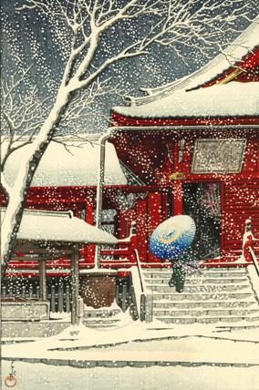 川瀬巴水 上野清水堂の雪