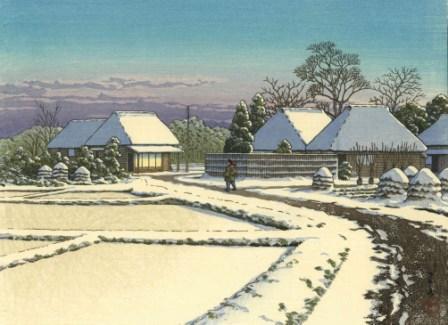 川瀬巴水 関宿の雪晴