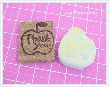 「SODA GUM STORY」用消しゴムはんこ① りんご「Thank you」