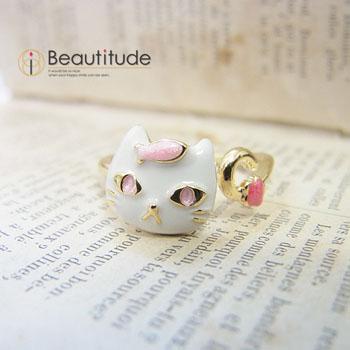 どや顔ネコとおさかなの指輪[白猫ソラ]1