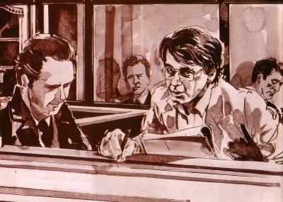 裁判中のニルセンのスケッチ
