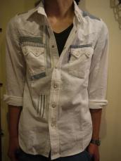 BB ホワイトストライプ リペアウエスタンシャツ