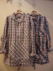 BB コットンリネン インディゴチェックPULL L/Sシャツ