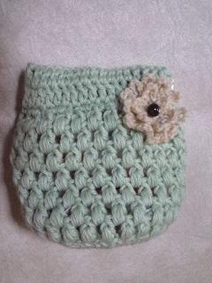 まんまる玉編みのパックンポーチ