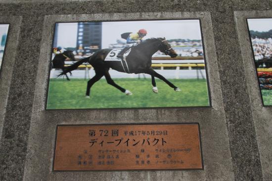 東京競馬場ディープ ダービー石碑