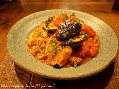 ミネ小屋◇フレッシュトマトと茄子のミートスパゲッティー