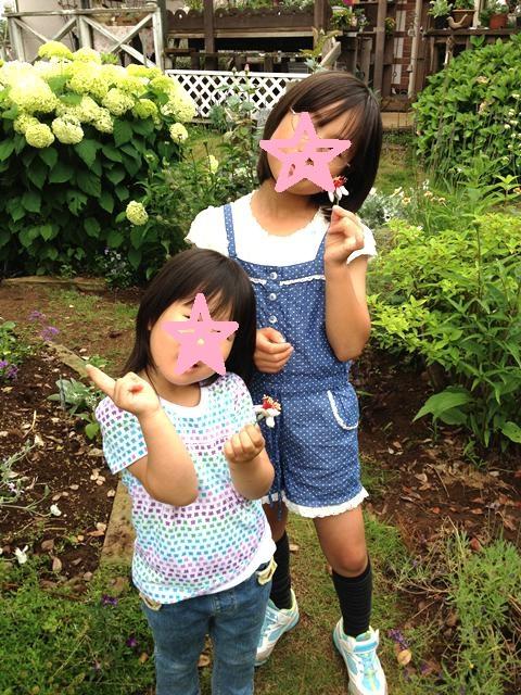 フェイジョアの花をもらった娘達120616paint