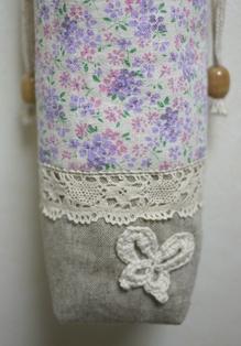 ペットボトルケース ピンク系花柄 裏側120622