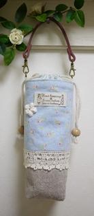 ペットボトルケース 水色小花120625