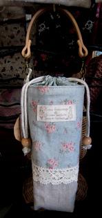 ペットボトルケース レトロな水色バラ柄120630