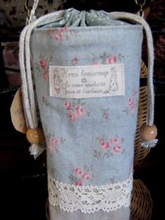 ペットボトルケース レトロな水色バラ柄up120630