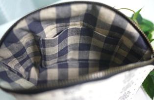 ポケット付きポーチ 白地黒の結晶-内側121123