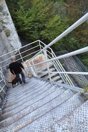 急な下り階段