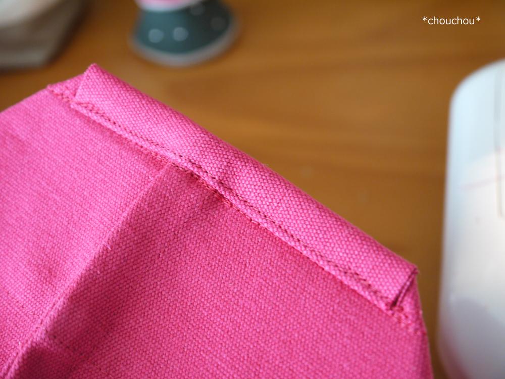 ローズピンク トート 底脇 縫い