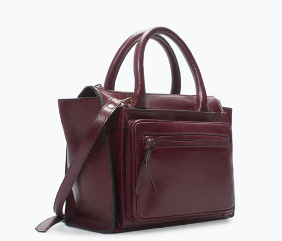 zara city leather bag
