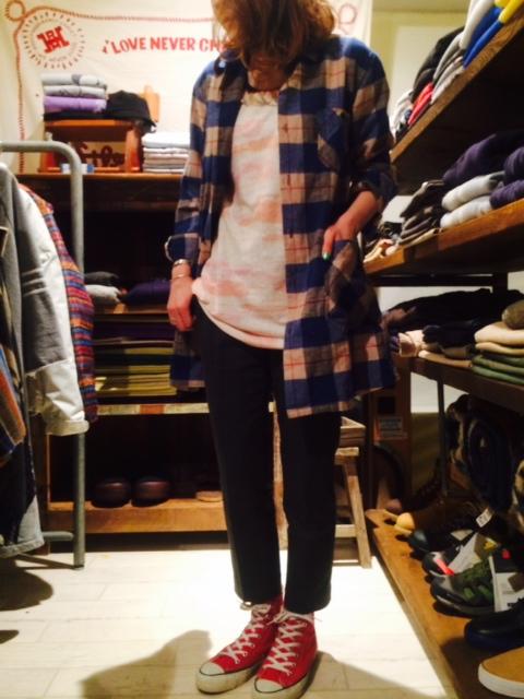 HRM ネルチェックロングシャツ3