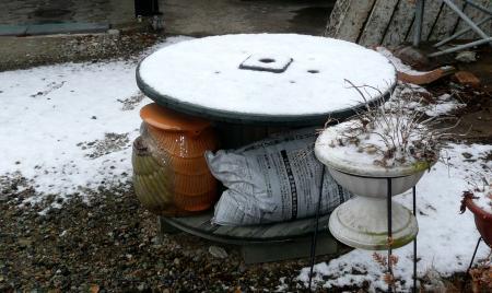 雪2月27日朝庭の雪2
