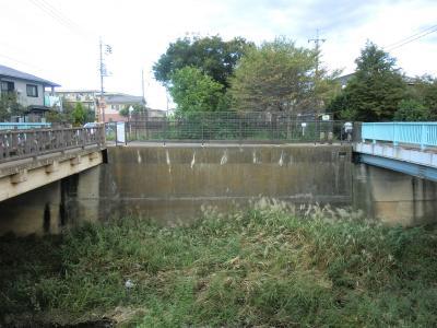 残堀川右岸より玉川上水下流を見る