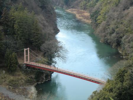 相模川左岸より弁天橋を望む