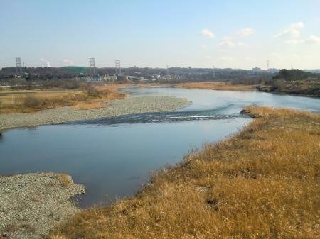 昭和橋側道橋から相模川下流を望む