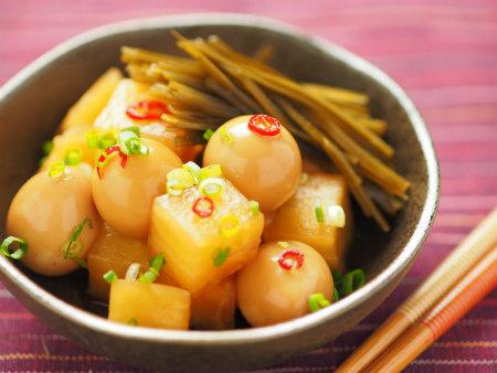 大根とうずら卵の酢醤油漬け16