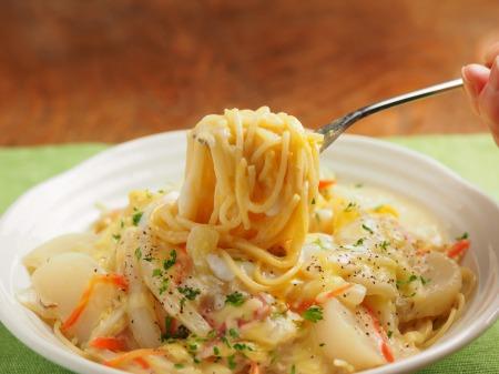 カブと白菜の豆乳パスタ37
