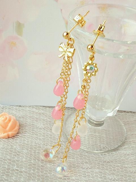 桜色ドロップのピアス3
