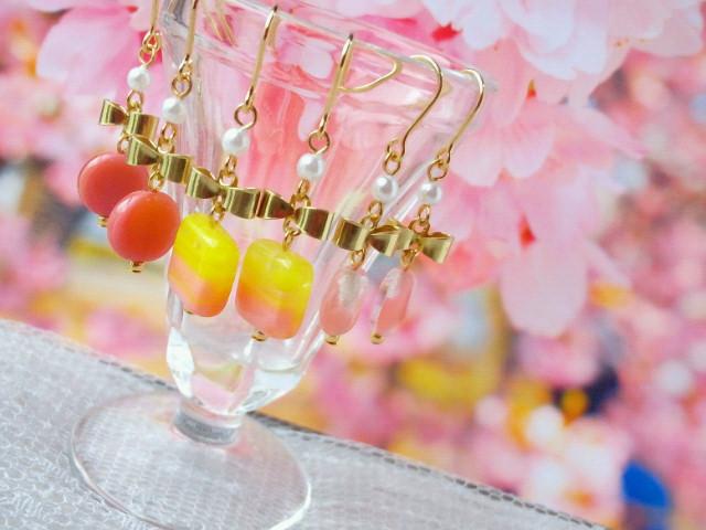 リボンとピンクチェコガラスのプチピアス1