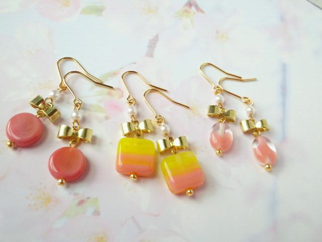リボンとピンクチェコガラスのプチピアス2