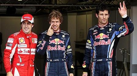 2010年イギリスGP予選後のベッテルとウェバー