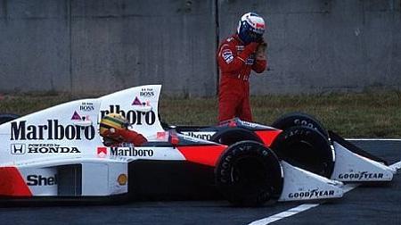 89年F1日本GPセナとプロストがシケインで接触