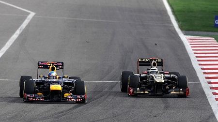 2012年F1バーレーンGPのベッテルとライコネンのバトル