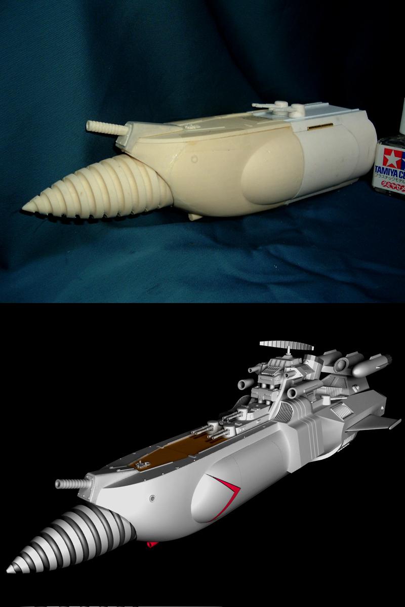1/350 轟天(惑星大戦争)の艦首とリボルバーの可動ユニットを作製 その1