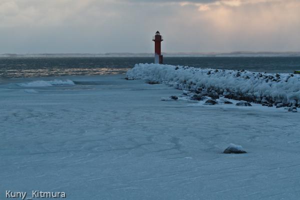 漂着した流氷のシャーベット