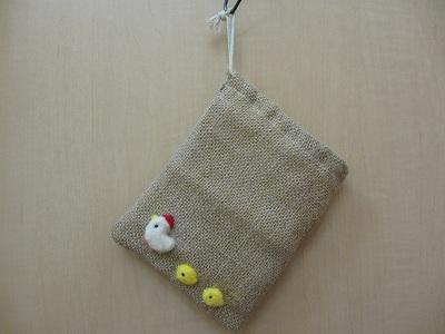麻布巾着(羊毛ひよこ)