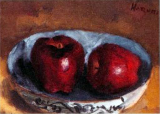 赤いリンゴの絵